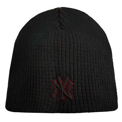 New York Yankees Ribbed Beanie Hat - Black/Red  Boys Size