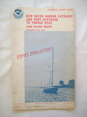 Vintage 1981 NOAA NAUTICAL CHART #12364 New Haven Harbor - Long Island Sound