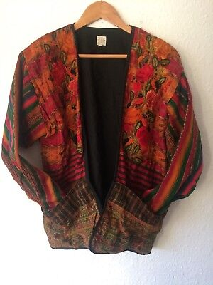 Vintage Guatemalan Birds Arts Crafts Red Ethnic Unisex Boho Hippy Jacket Coat M