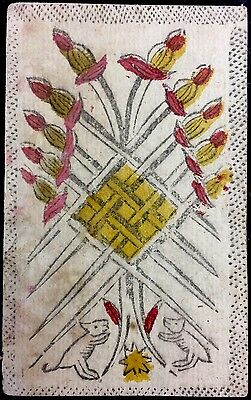 18th Century Ten of Swords Antique Tarot Playing Cards Italian Painted Single