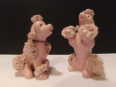 Vtg Lefton Pink Porcelain Spaghetti Poodle Puppy Figurines -No Mother- Japan