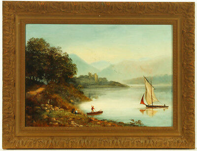 Gilt Framed Early 20th Century Oil - Figures in a Lake Landscape