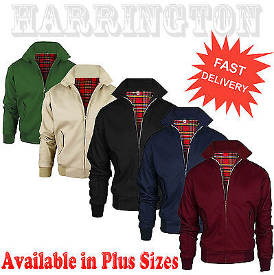 Harrington Jacket Mens Classic Retro Scooter 1970'S Vintage Plus Size Xs -Xxxxxl