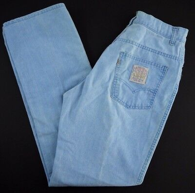 VINTAGE 70s LEVIS womens baby blue WHITE TAB mom jeans 28x32 high waist distress