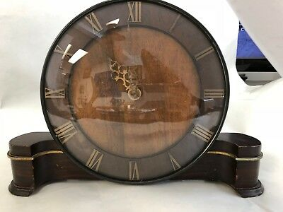 Vintage Smith's Art Deco  Two Tone Wood Mantle Clock Runs Convex Glass