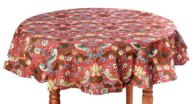 William Morris Gallery Red Strawberry Thief Minor Cotton Table Cloths