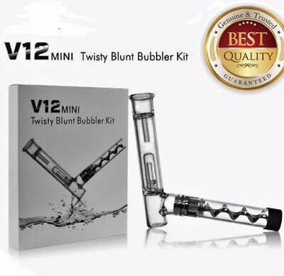 B-Blunt Collectibles V12 Plus Twisty Glass Pipe Bubbler kit GUN METAL