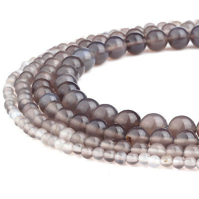 RUBYCA Natural Grey Agate Gemstone Round Loose Beads for Jewelry Making 4mm-10mm