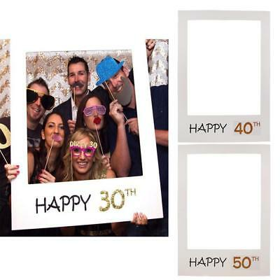 18/30/40/50/60th 21st 2018 Frame Photo Booth Props Happy Birthday Paper Party