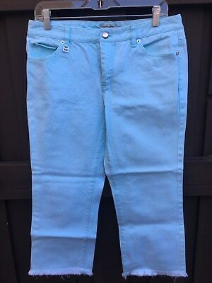 MICHAEL by Michael Kors Women's Sz 10 Sky Blue Denim Capri Pants - FUN!