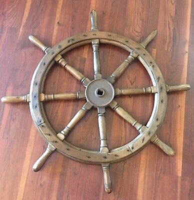 "Antique Ships Wheel ~ Huge ~ 41"" ~ Cast Iron Hub with Solid Wood ~ 8 Spokes"