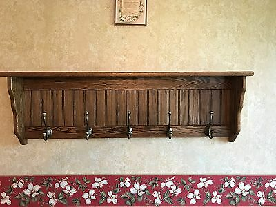 42 Inch Solid Oak Coat Rack With Antique English Brass Hooks Country