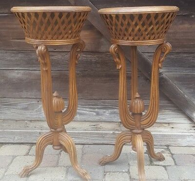 Pr. Of Early 20Th Centurywood / Wicker Plant Stands