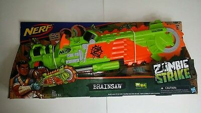 NERF HASBRO BRAINSAW ZOMBIE STRIKE Soft dart Gun Toy Kids age 8+ New
