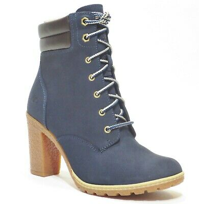 Timberland Women's Tillston High Heel Navy Blue Leather Boots Style A1HTS