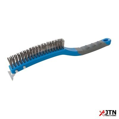 Silverline 156914 Stainless Steel 3 Row Wire Brush with Scraper 350mm