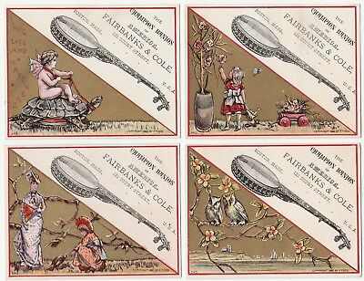 SUPER - Set of 4 Advertising Trade Cards 1880 Fairbanks & Cole Champion Banjo