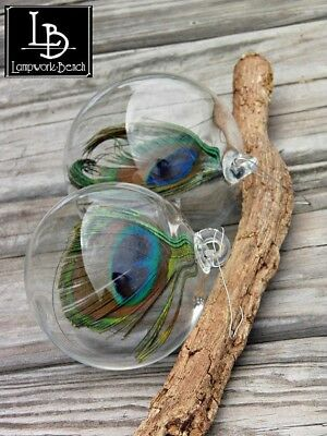 Handmade Hand Blown Glass Ornament Garden Sun Catcher with Real Peacock Feather