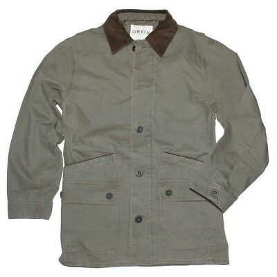 Orvis Men's Corduroy Collar Cotton Barn Jacket, Olive, Size L, NWT