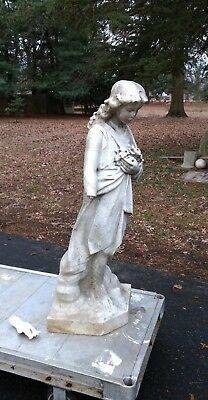 Antique Marble Garden Sculpture Girl with Flowers