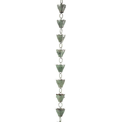 Durable Blue Verde 8.5-ft Handcrafted Copper Tulip Old World Style Rain Chains
