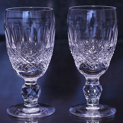 """Vintage WATERFORD Crystal 'Colleen' Pattern Pair of 4.25"""" Sherry Glasses"""