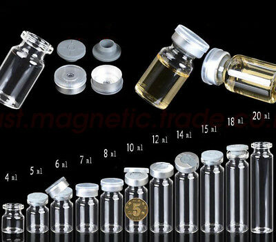 Lots 4ml-20ml Empty Glass Bottles Butyl Rubber Stopper Aluminum Seal Caps Vials