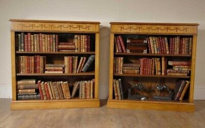 Satinwood Regency Low Open Bookcases Open Front