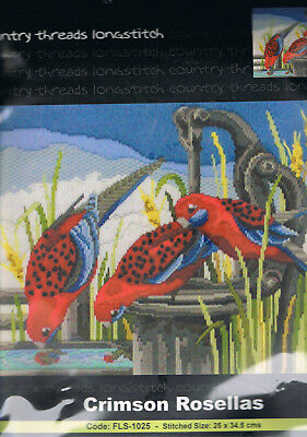 """ CRIMSON ROSELLAS ""  Long Stitch Kit,  Country  Threads"