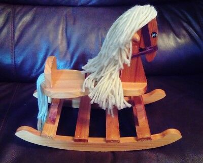 Vintage Wooden Rocking Horse Ornament Dolls Toy