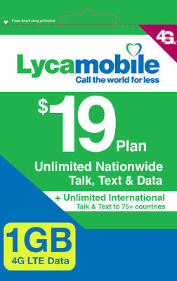 Lycamobile $23 Plan Preloaded Sim Card  Free 1st  Month prepaid unlimited talk