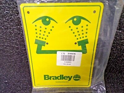 BRADLEY Safety Eyewash Sign, For Use With Bradley Eyewashes (K)