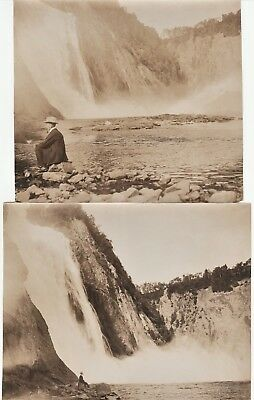 Orig Photo LOT of 2 - Montmorency Falls 1907  -  Quebec City Canada IDd