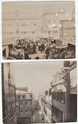 Orig Photo LOT of 2 - Street Scenes Market People 1907 Quebec City Canada IDd 2