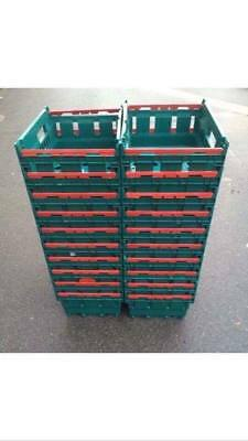 50 x Small Bail Arm Mushroom Crates warehouse Storage Stacking Boxes 40x30x16cm
