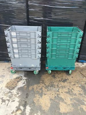 6 x Extra Deep Bail Arm Crates Plastic Stacking Boxes 60 x 40 x 30cm + Dolly