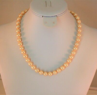 Charter Club silver tone 8MM  champagne faux pearl strand necklace