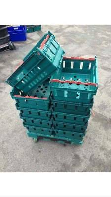 10 x Bail Arm Crates A4 office Storage Stacking Boxes + Wheeled Warehouse Dolly