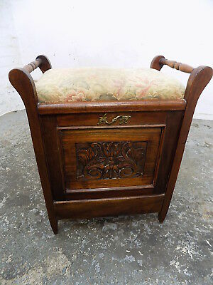 antique,edwardian,carved,oak,piano stool,fall front,music storage,shelves,piano