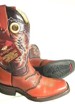 b28e4f00e Men s cowboy western boots Genuine Cowhide Leather square toe rodeo size  10.5