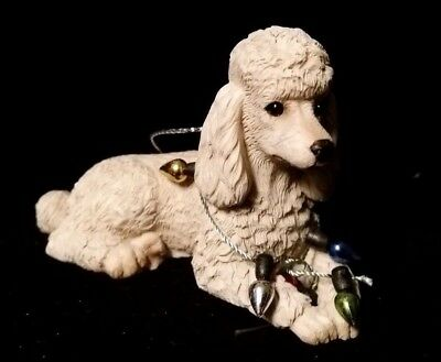 Sandicast White Poodle Christmas Ornament Wearing Holiday Lights ~ Nib! *