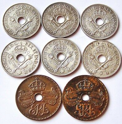 Territory New Guinea  6 x SILVER One Shilling  &  2 x One Penny Bronze Coins