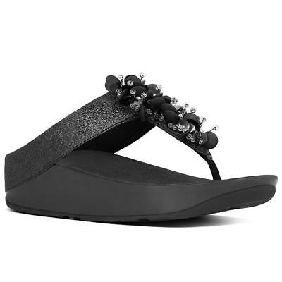 320ae01bc60c74 FITFLOP BOOGALOO BLACK Flip Flop Sandal Women s sizes 5-11 NEW ...