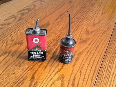 Texaco Home Lube 1930's ---2 different style cans with lead spout