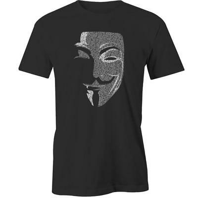 Anonymous Guy Fawkes Mask Letters T-Shirt Tee New