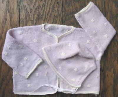 Vtg Hand Knit Baby Toddler Sweater and Bonnet Lilac lavender Purple White Trim