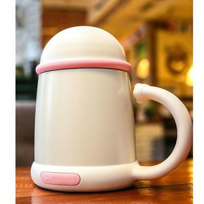 Stainless Steel Insulated Coffee Water Travel Mug Flask with Handle White
