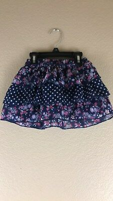 Faded Glory Girls Blue Pink White Ruffled Floral Skirt Size 4/5 New Without Tags