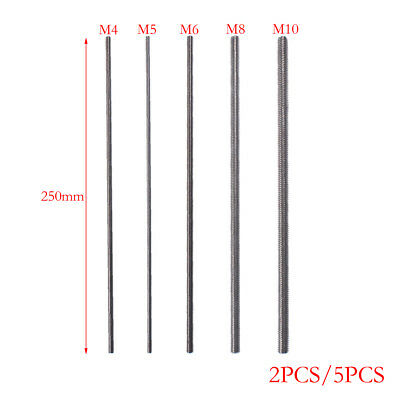 316 Stainless Steel Fully Threaded Rod M4 M5 M8 M10 2/5pcs High Performance
