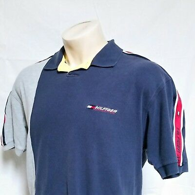 c9441ed87 VTG 90s Tommy Hilfiger Athletics Polo Shirt Colorblock Racing Rugby Lotus  Large
